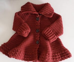 Crochet High Neck Coat For Girls