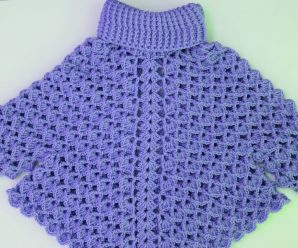 Crochet Turtleneck Poncho With Sleeves
