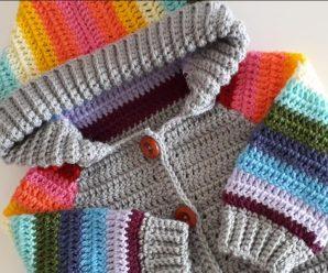 Crochet Baby Hoodie In Rainbow Colors