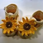 Crochet Sunflower Sandals For Baby