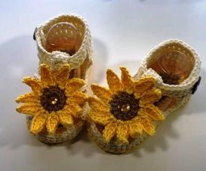 Crochet Sunflower Sandals For Baby