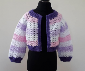 Crochet Cropped Jacket For Girls