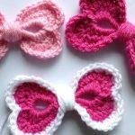 Crochet Hearts Hair Bow