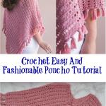 Crochet Easy And Fashionable Poncho Tutorial