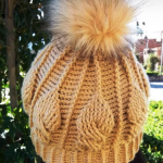 Crochet Leaves Stitch Pompom Hat