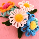 Crochet Spring Flower With Leaves