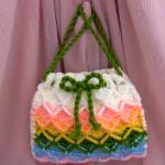 Crochet 3 D Handbag In Rainbow Colors