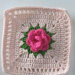 Crochet Simple Rose Square Motif