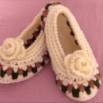 Crochet Slippers With Rose Flower