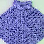 Crochet Turtleneck Poncho With Sleeves
