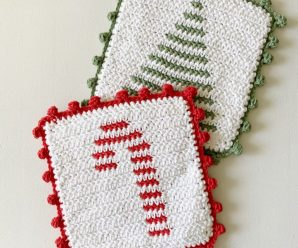 Crochet Candy Cane And Christmas Tree Hot Pad
