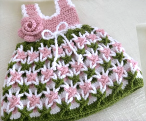 Crochet Baby Dress With Magic Star Flowers
