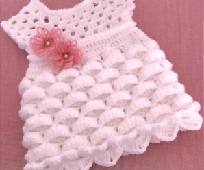Crochet Marshmallow Stitch Dress For Baby