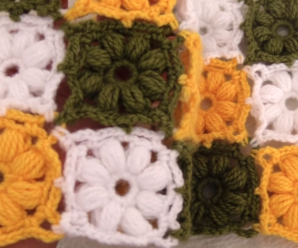Crochet Easy Blanket With Flower Squares