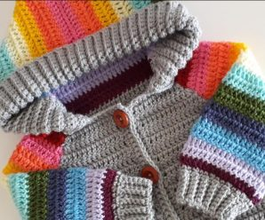 Crochet Baby Hoodie In Rainbow Colors