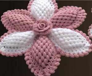 Crochet Big Rose Flower Ornament
