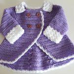 Crochet Double Breasted Baby Girl Coat