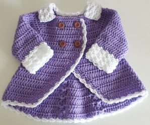 Crochet Double Breasted Baby Girl Coat