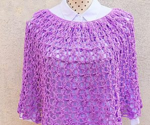 Crochet Flower Stitch Poncho For Women