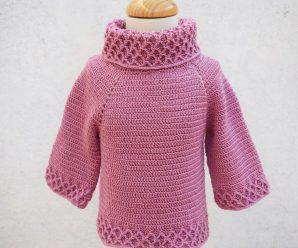 Crochet Turtleneck Sweater For Girls